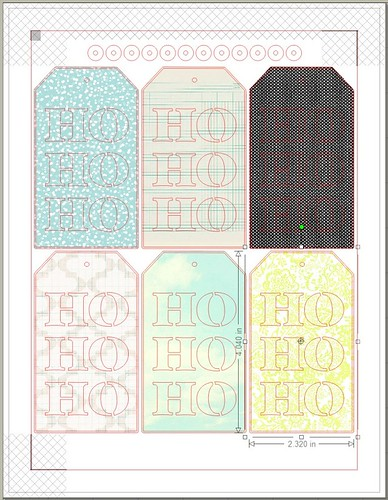 HO HO HO tags - free print & cut file - patterned