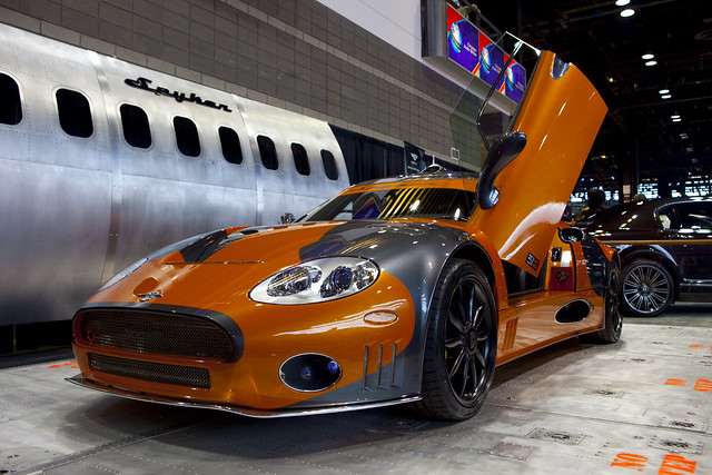 Orange sports car at the Chicago Auto Show