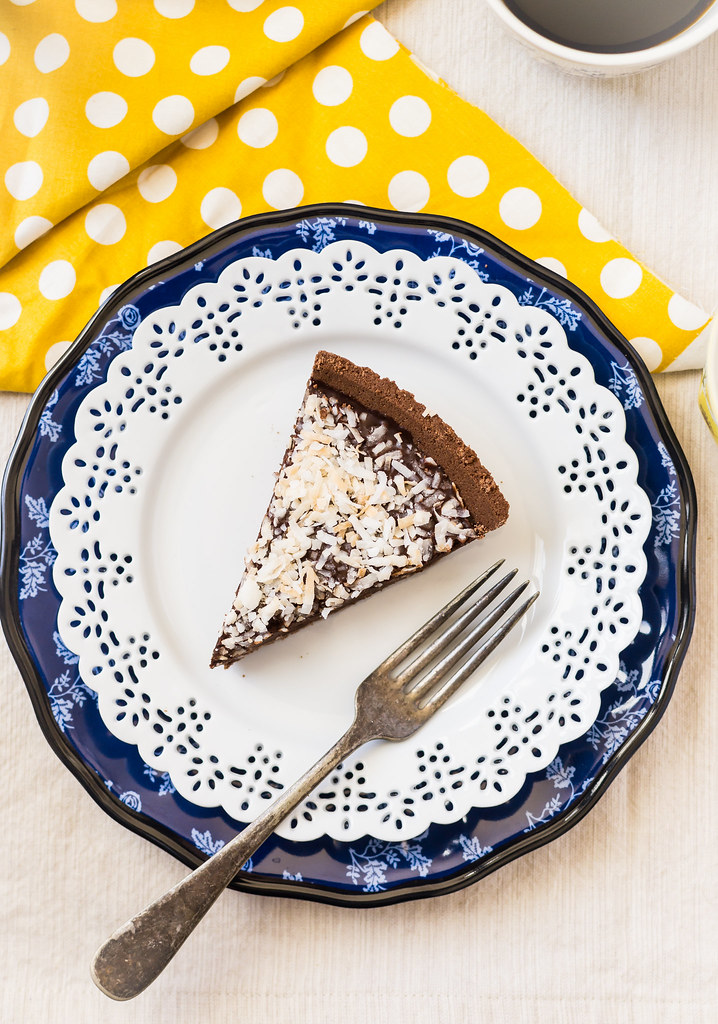 Chocolate Ganache Pie with Toasted Coconut with Slice Overhead Shot