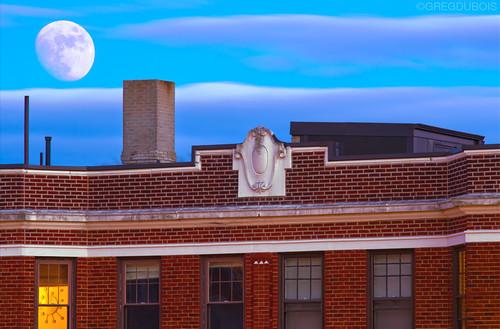 Moonrise over Boston Neighborhood of Brighton at Dusk, Comm Ave and Washington by Greg DuBois Photography
