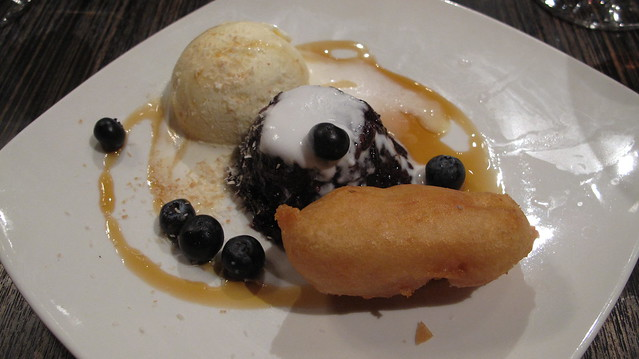 berry & rice pudding/deep-fried banana & vanilla ice cream - Kaya Malay/Haywire