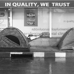 Apparently the #asoke #shutdown is all about #quality... | #blackandwhite #bangkok #thailand #2014
