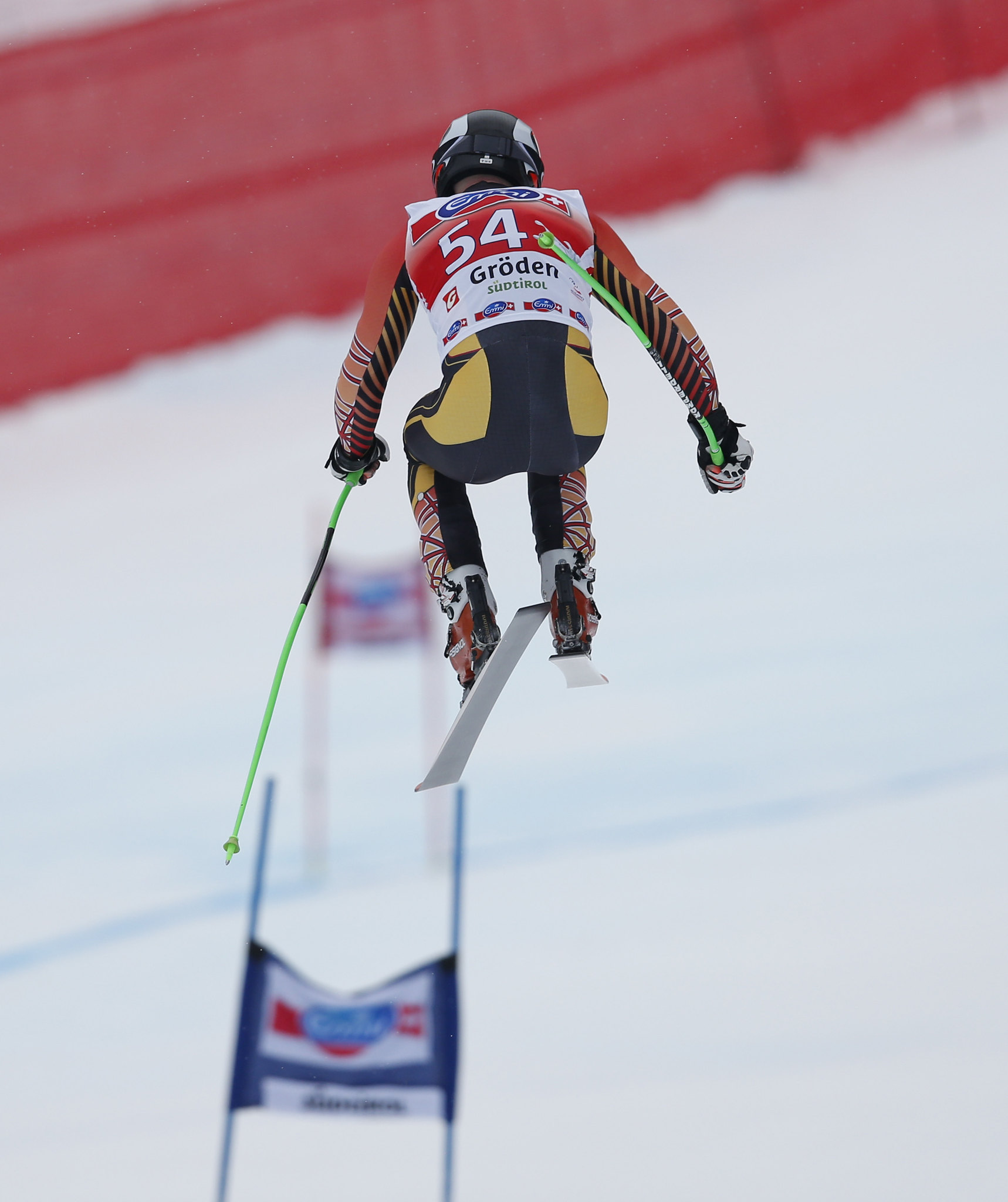 Robbie Dixon catches some air during the Super-G in Val Gardena, ITA