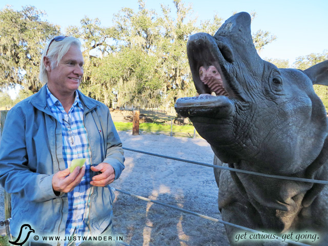 PIC: Bill of JustWander.in feeding an Indian Rhino