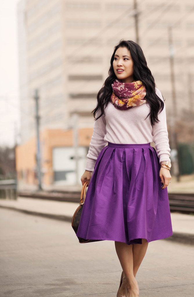 Spring Colors :: Purple Full Midi Skirt - cute & little