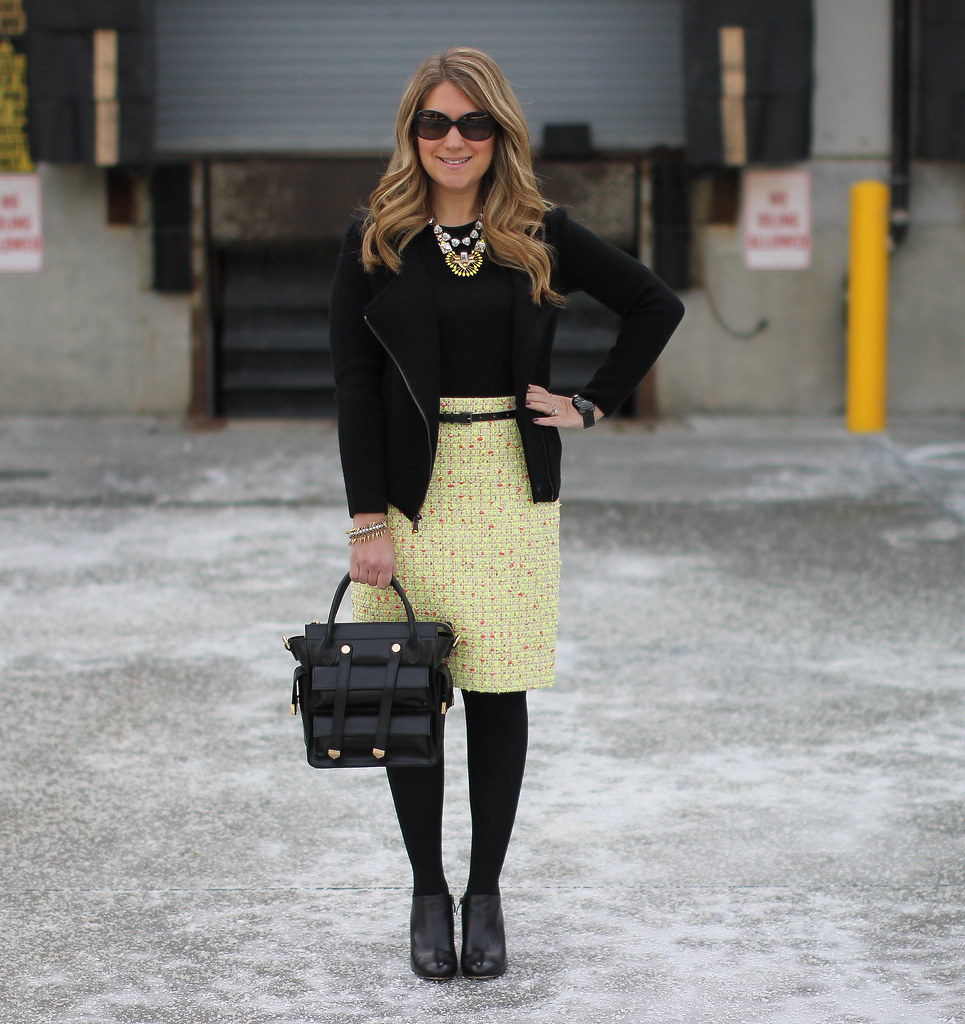 J.Crew Neon Tweed Skirt winter work outfit