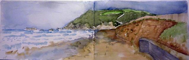 la duna de zarautz destrozada, Talaimendi al fondo y el mar rugiendo