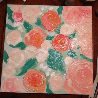 Abstract floral painting in progress! #wip #meandwee #abstract #painting #floral #art #acrylic