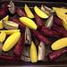 Yukon gold potatoes, red onions and purple sweet potatoes