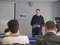 Accession Number: spa.2065.1  Yes Scotland GCU (Glasgow Caledonian University).   Photographs of  University's student-led 'Yes' campaign's first public event, 'The case for Scottish independence'.  The event was held on Thursday 10th April 2014.  Speakers included Michael Gray (Business for Scotlan...