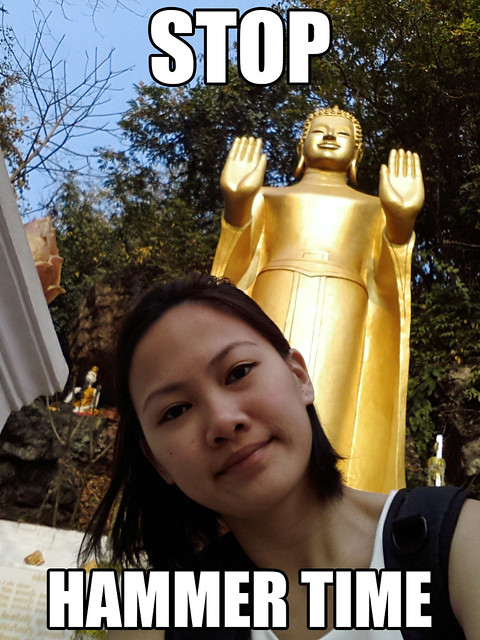 Phou Si Hill Cheryl Selfie with Buddha, Stop! Hammer Time!