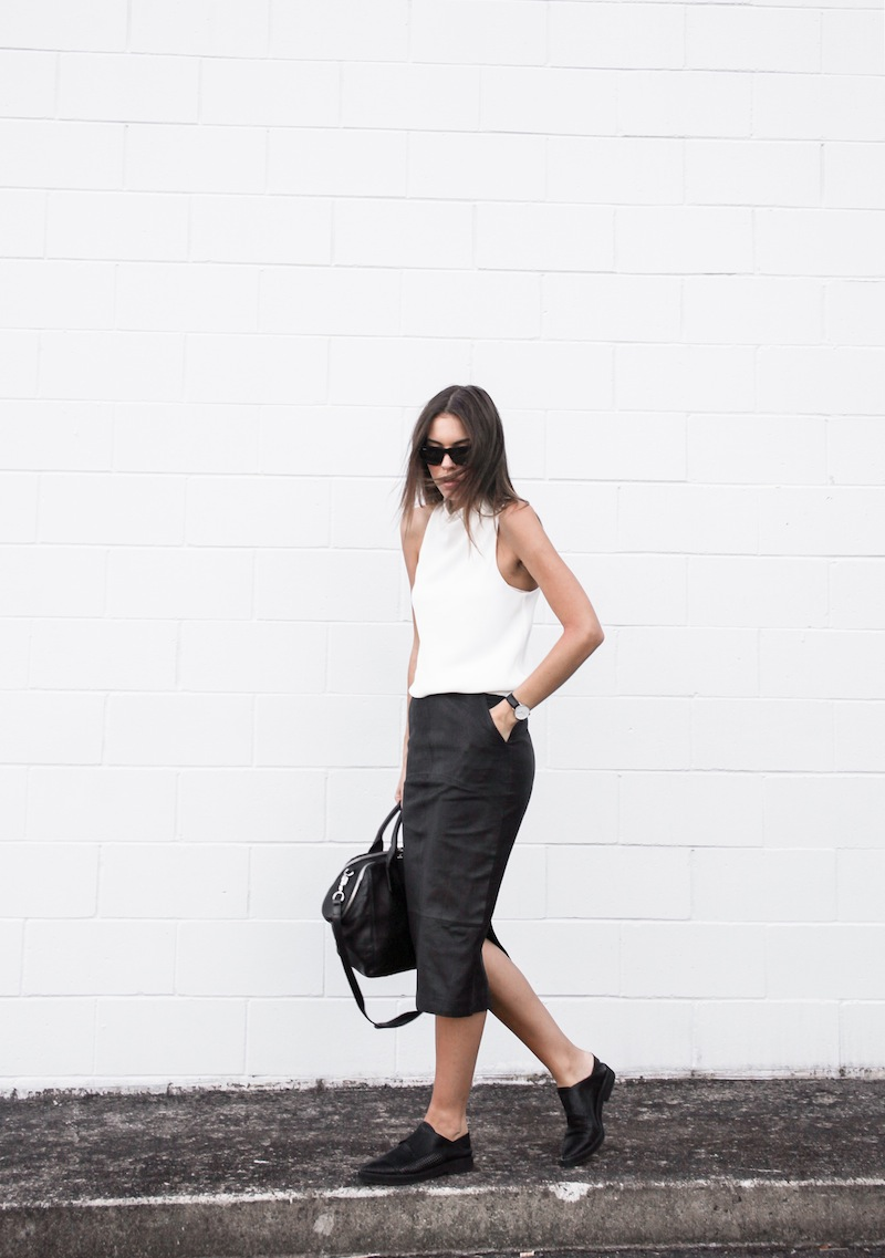 modern legacy blog street style off duty Camilla and Marc high neck white top ASOS leather pencil skirt Helmut Lang oxfords loafers monochrome minimalist Alexander Wang blogger what to wear to work (3 of 10)
