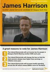 Leaflet for James Harrison, Scottish Liberal Democrat candidate for Glasgow North West.