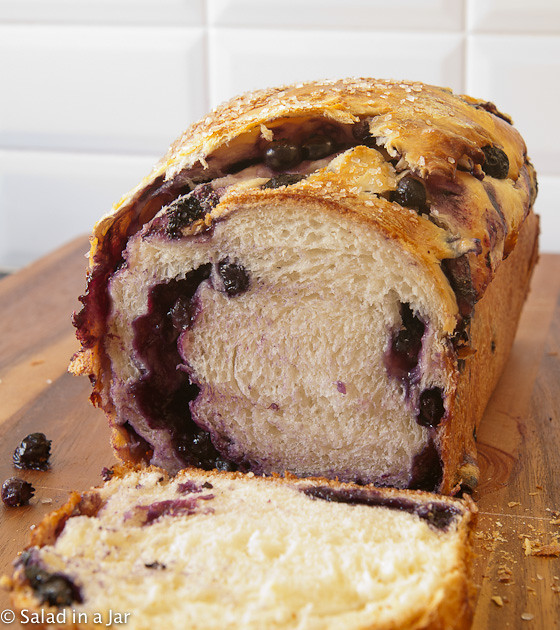 Blueberry-Stuffed Sally Lunn Bread (Mixed in a Bread Machine)
