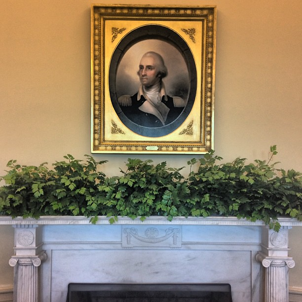 Portrait Over Mantle In The Recreated Oval Office The