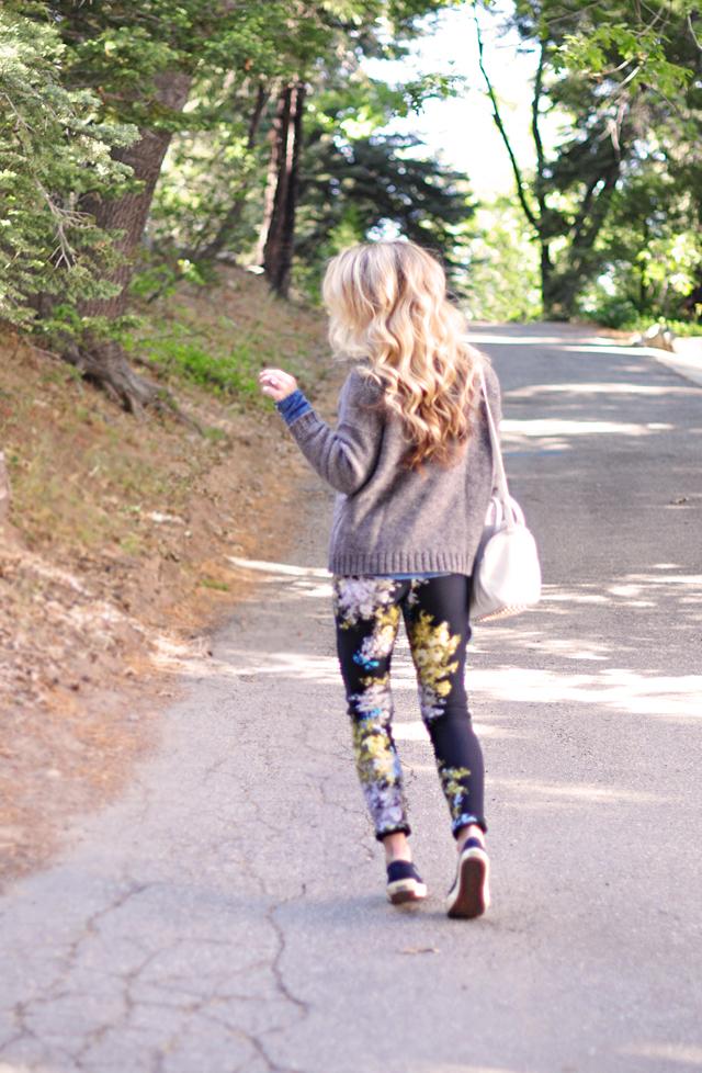 long waved blond hair - floral print pants