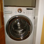 Large combo washer and dryer in dressing area