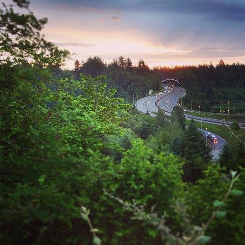 Dawn over I-5 from Tumwater Hill. #Tumwater #sky #morning #cloudy #freeway #Olympia #Interstate5 #iPhoneography #latergram #iPhone5 #igers #M3Mark by M3Mark