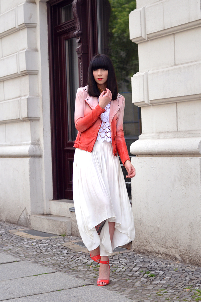 Muuba ombre leather biker jacket white red outfit 5