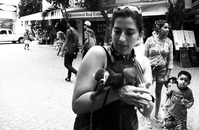Gigi with a monkey