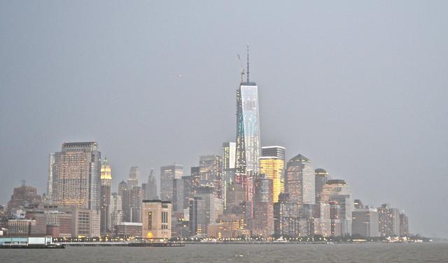 new york city skyline at nightfall