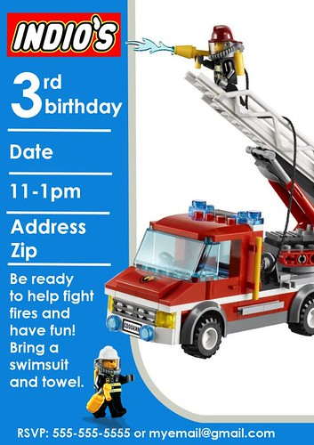 lickity list Lego Firefighter Birthday Party Invitations