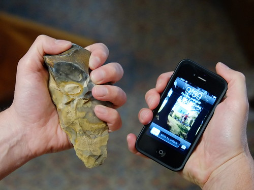 Acheulean hand axe and iPhone