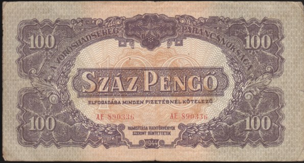100 Pengő Maďarsko 1944