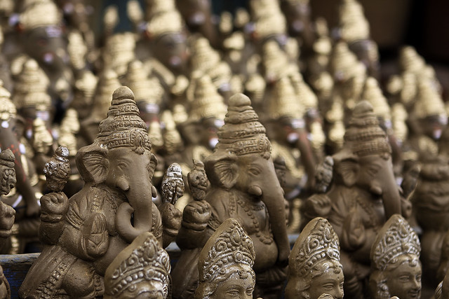 In progress clay idols of Lord Ganesh
