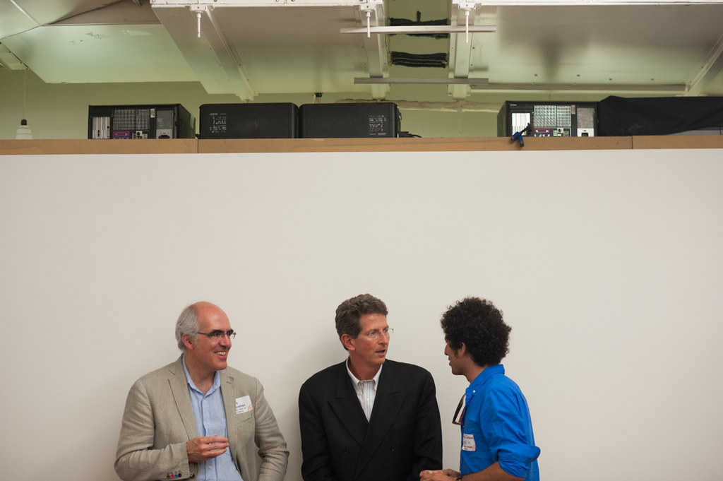 From left to right, Cornell Department of Architecture chair Mark R. Cruvellier speaks with Bob Balder and advisory council member and alumnus Peter Gerakaris.