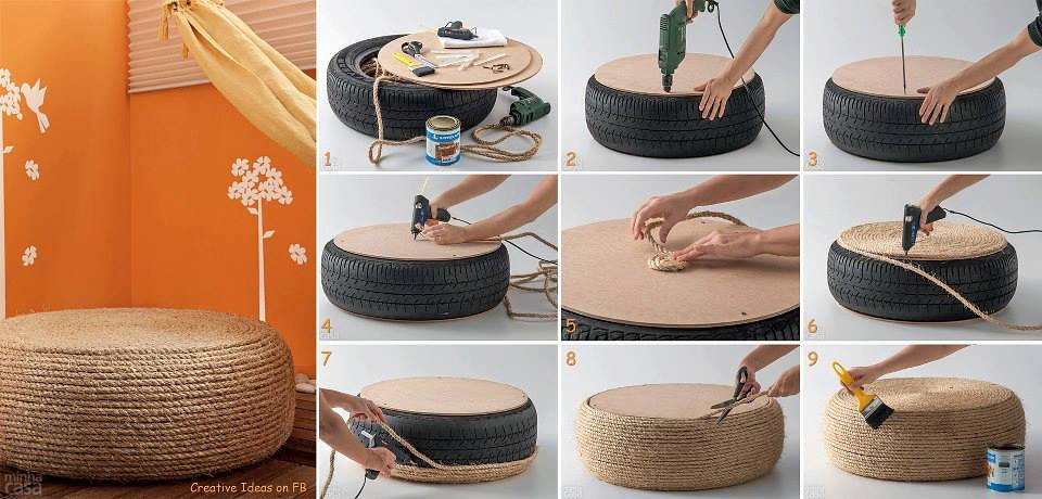 tire rope ottoman