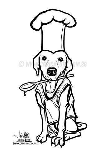 Flapper dog illustration for logo namecard - small (watermarked)