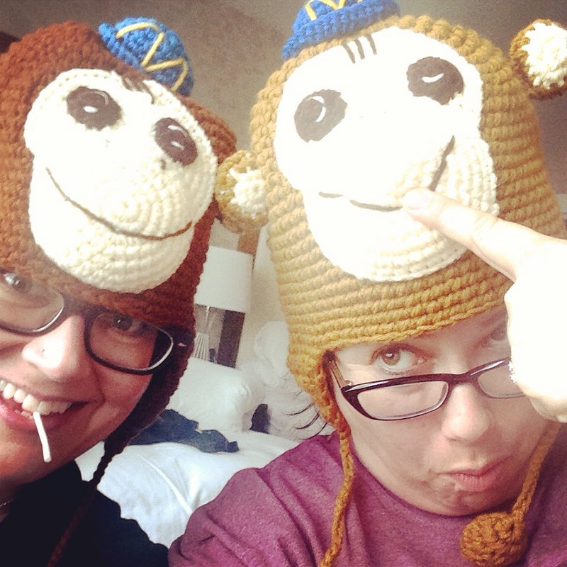 Stacy Jill Calvert and I in Mailchimp hats at Salon LGBTQ