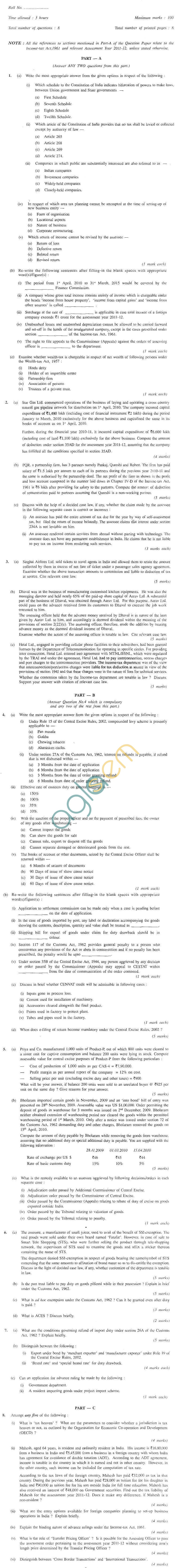 CS Professional Question Papers Jun 2011 - Due Diligence and Corporate Compliance Management Module IV