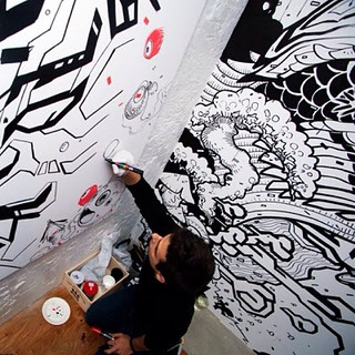 #Mural #painting and live painting in #Tokyo with Tadaomi Shibuya in our #exhibition #Wayosecchu - #aleixgordo #illustration #japan #japon #streetart #urbanart