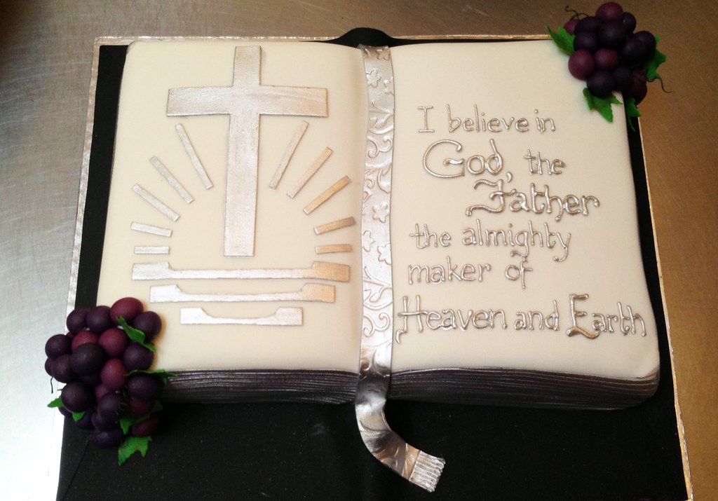 Bible Shaped Birthday Cake With New Apostolic Logo And Fondant