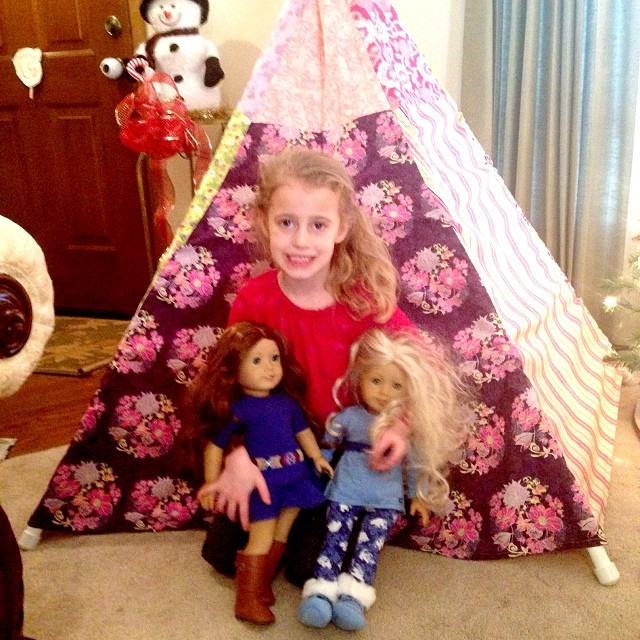 Autumn with Caroline, her new Saige doll and fabric teepee!!