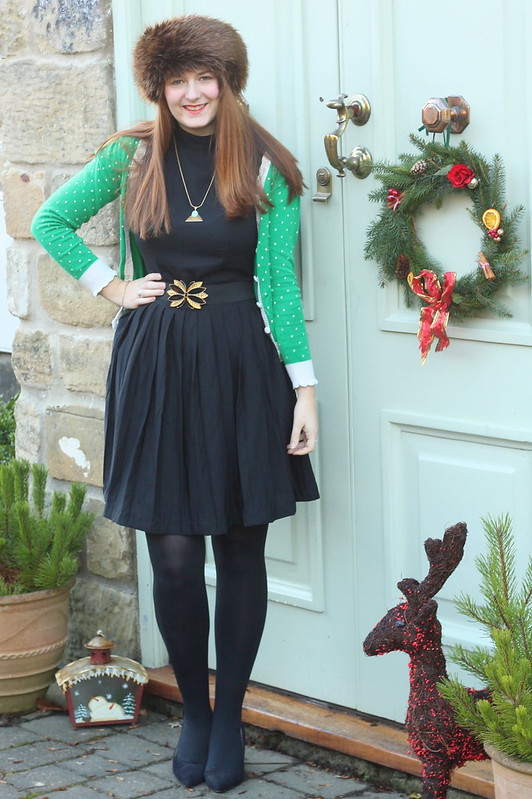 ootd, black dress, retro cardigan, heels