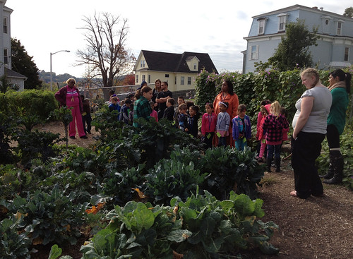 Kindergarteners, family members, and teachers from Grafton Street School in Worcester, MA touring the REC's Organic Farm with Mass. Farm to School Project's Kindergarten Initiative program.