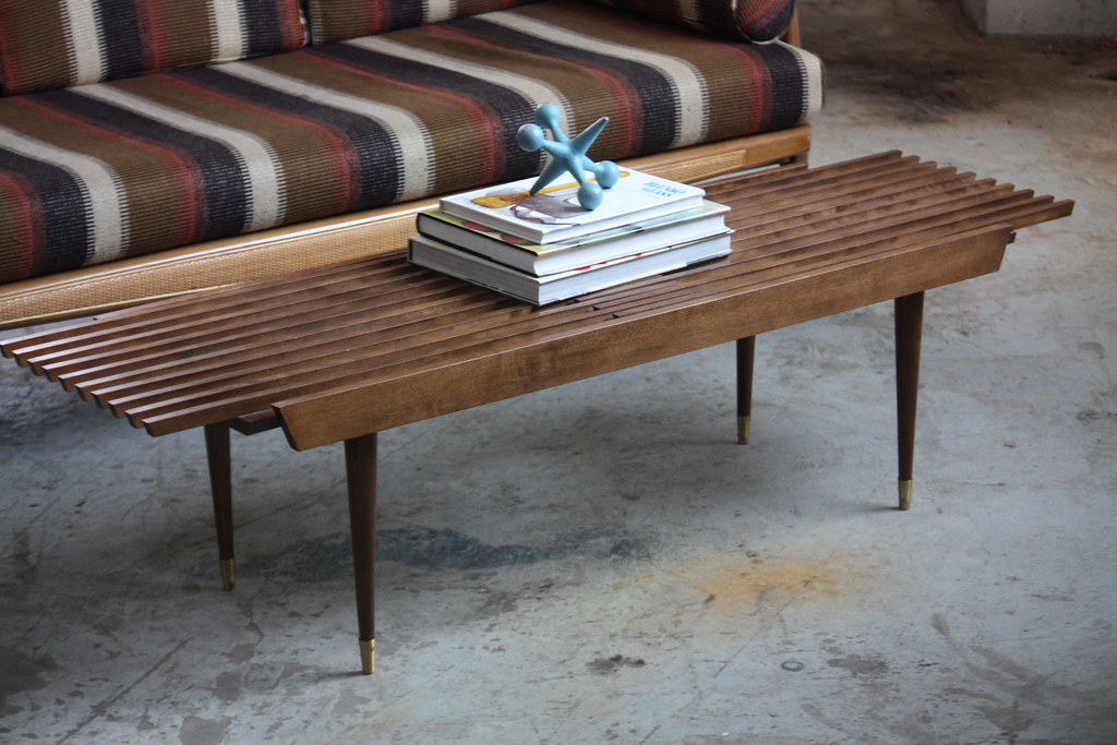 Appealing Mid Century Modern Expanding Slat Bench Coffee Table
