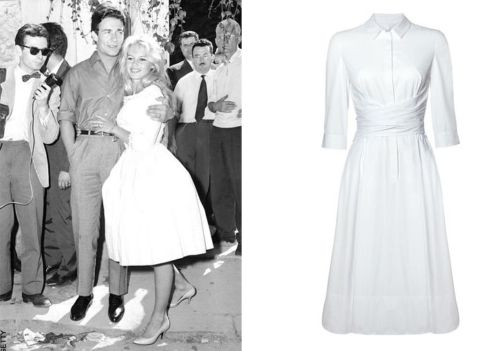 Brigitte Bardot short wedding dress