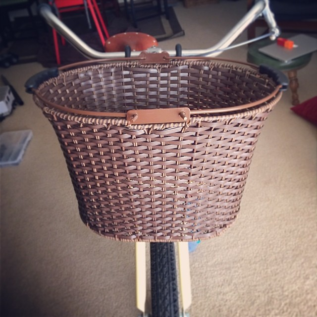 Also, my new picnic-style front basket. Spring can't come soon enough.  #vintagebicycle
