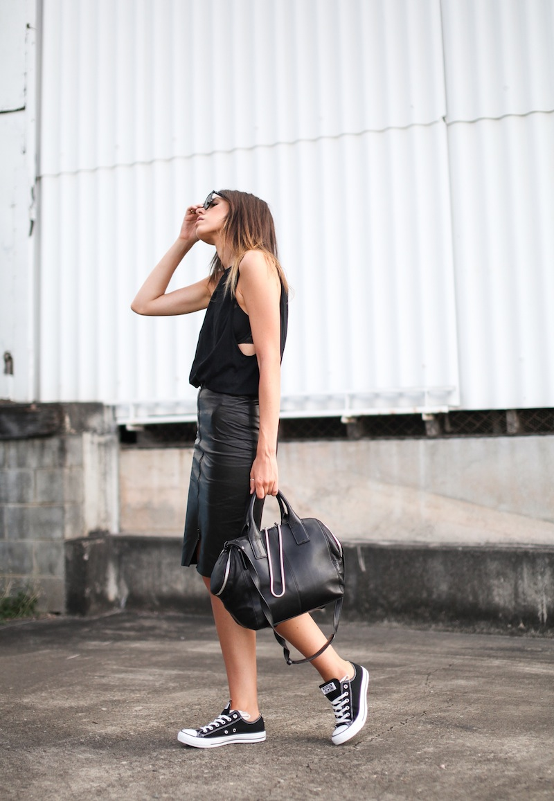 modern legacy fashion blogger Australia street style leather pencil skirt all black Converse All Star Bassike cutaway tank Alexander Wang Jamie Chastity tote chain bag (2 of 9)