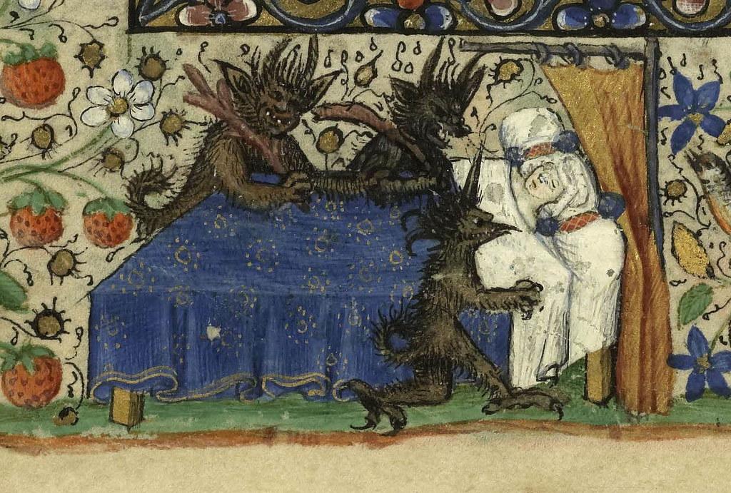 Livre d'heures de Catherine de Rohan et de Françoise de Dinan - Des démons tourmentent une dormeuse