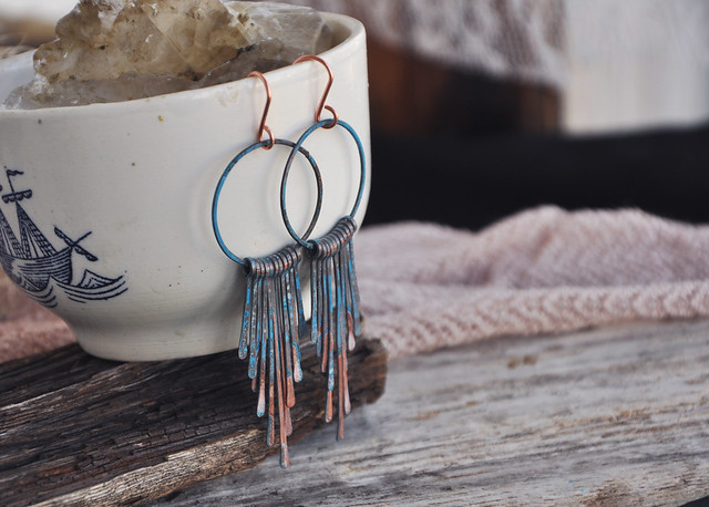 copper and patina earrings