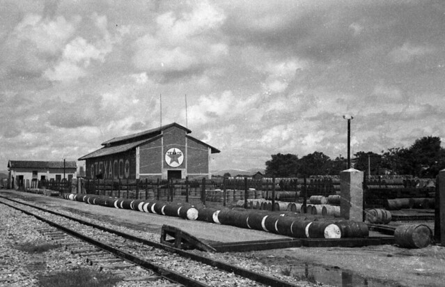 HAIPHONG 1940 - Fuel barrels stacked along rail yard at Texaco plant