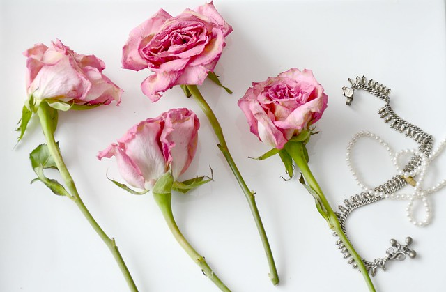 Pink roses and pearl necklace