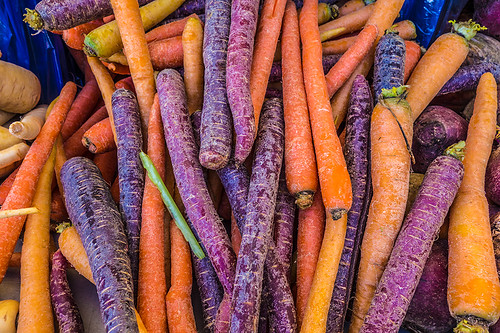 colorful carrots at farmer's market by joeeisner