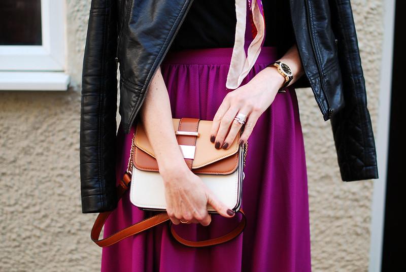 Biker jacket & magenta skirt