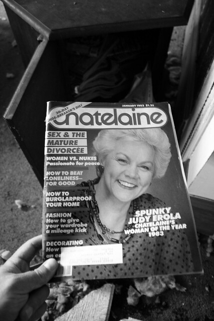The end table was jam packed with magazines, I reached inside and pulled out the one on top: Chatelaine - January 1983 - $1.25